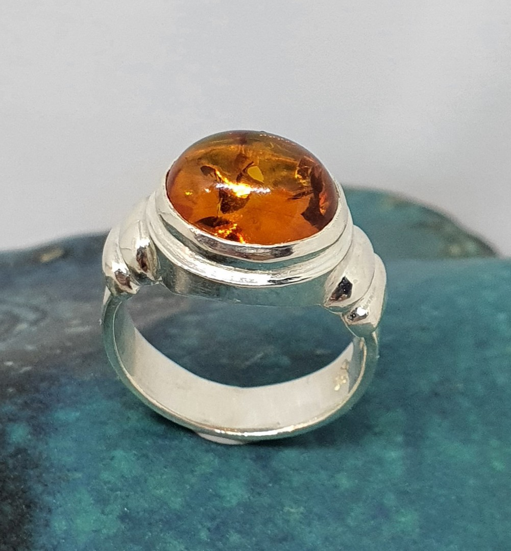 Silver amber ring , made in New Zealand image 2