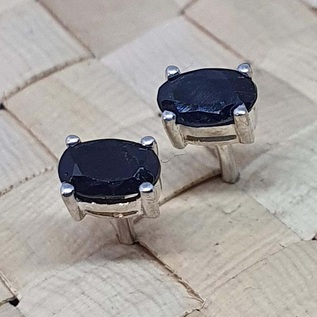 Sterling silver black sapphire stud earrings image 0