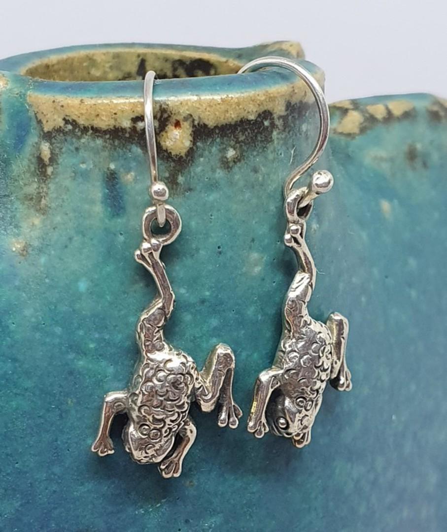 Sterling silver frog earrings image 0
