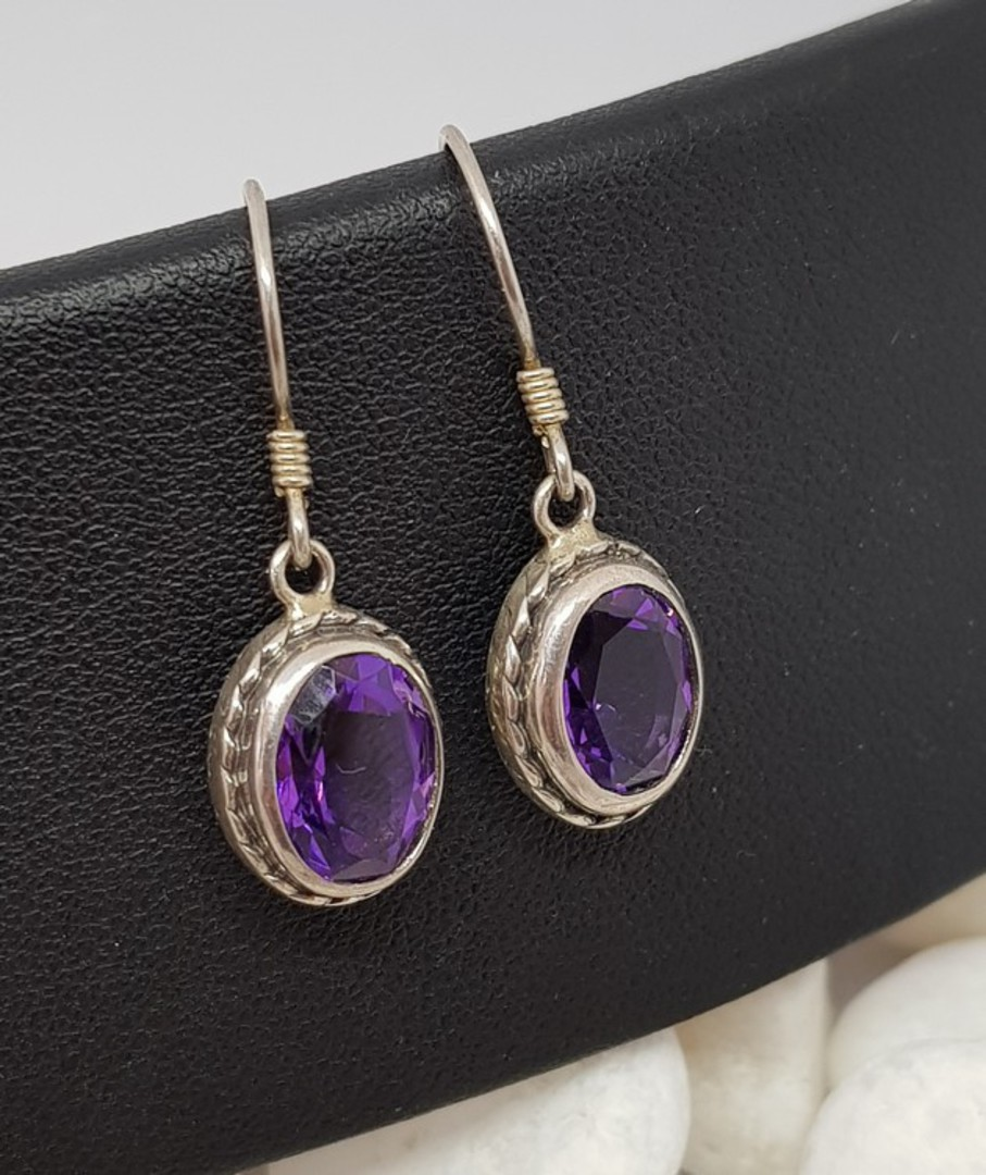 Sparkling sterling silver amethyst earrings image 1