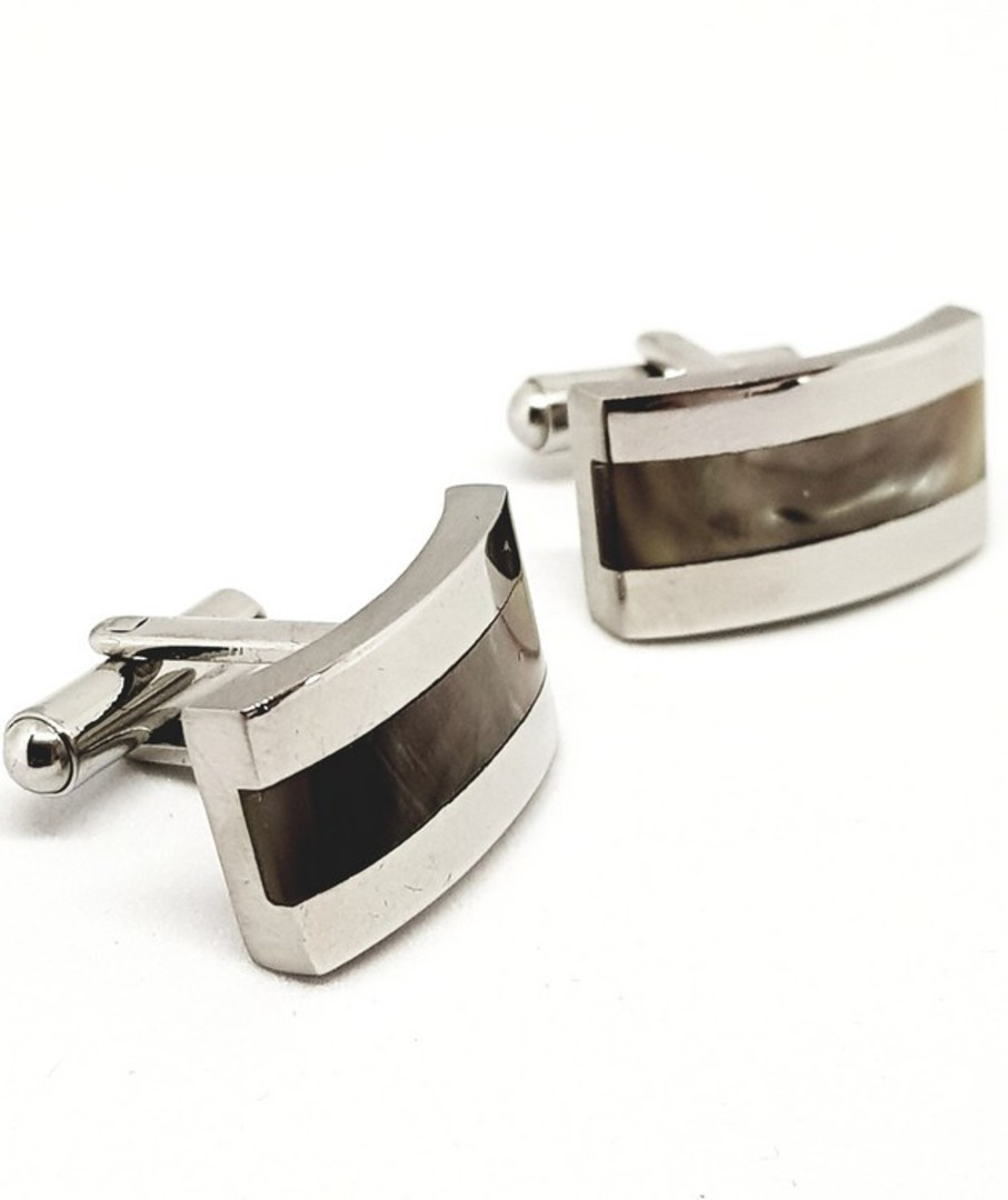 Stainless shell cufflinks with inlay shell image 0