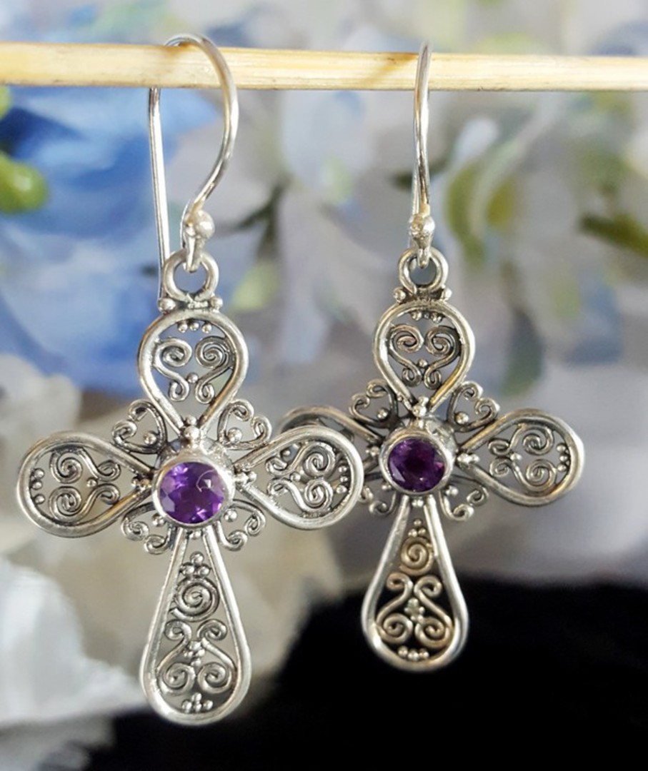 Silver Amethyst Earrings | Filigree silver crosses image 0