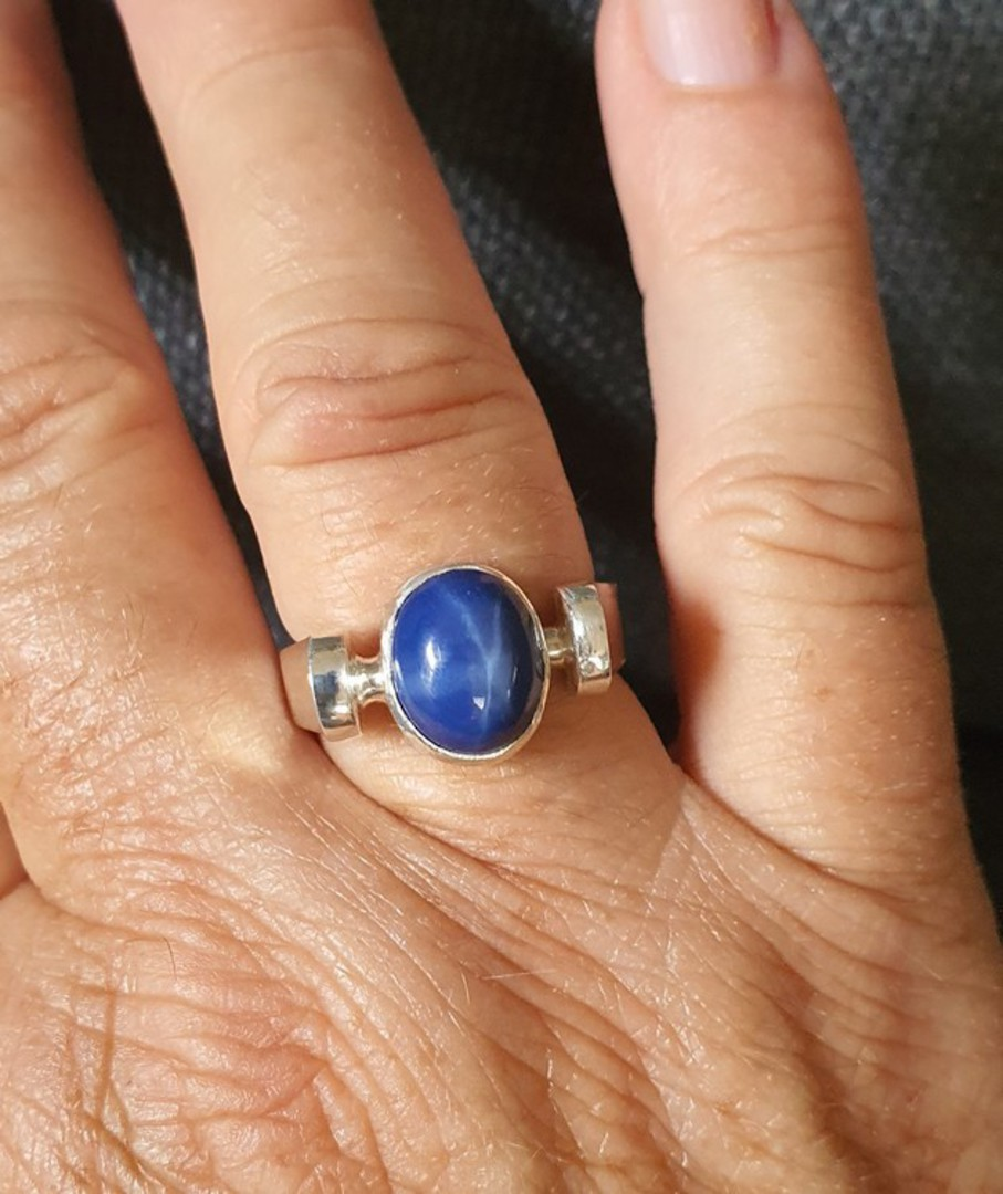 Sterling silver blue star sapphire ring - made in NZ image 2