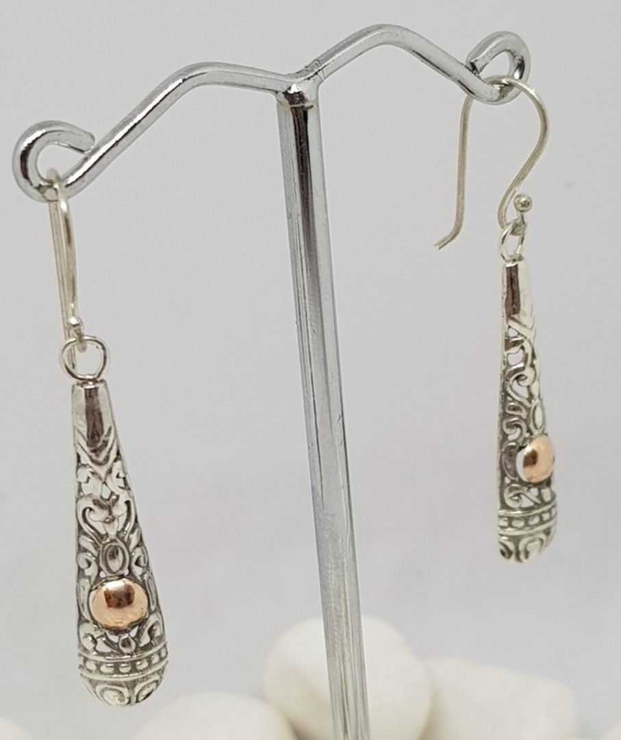 Silver filigree earrings with gold detail image 1