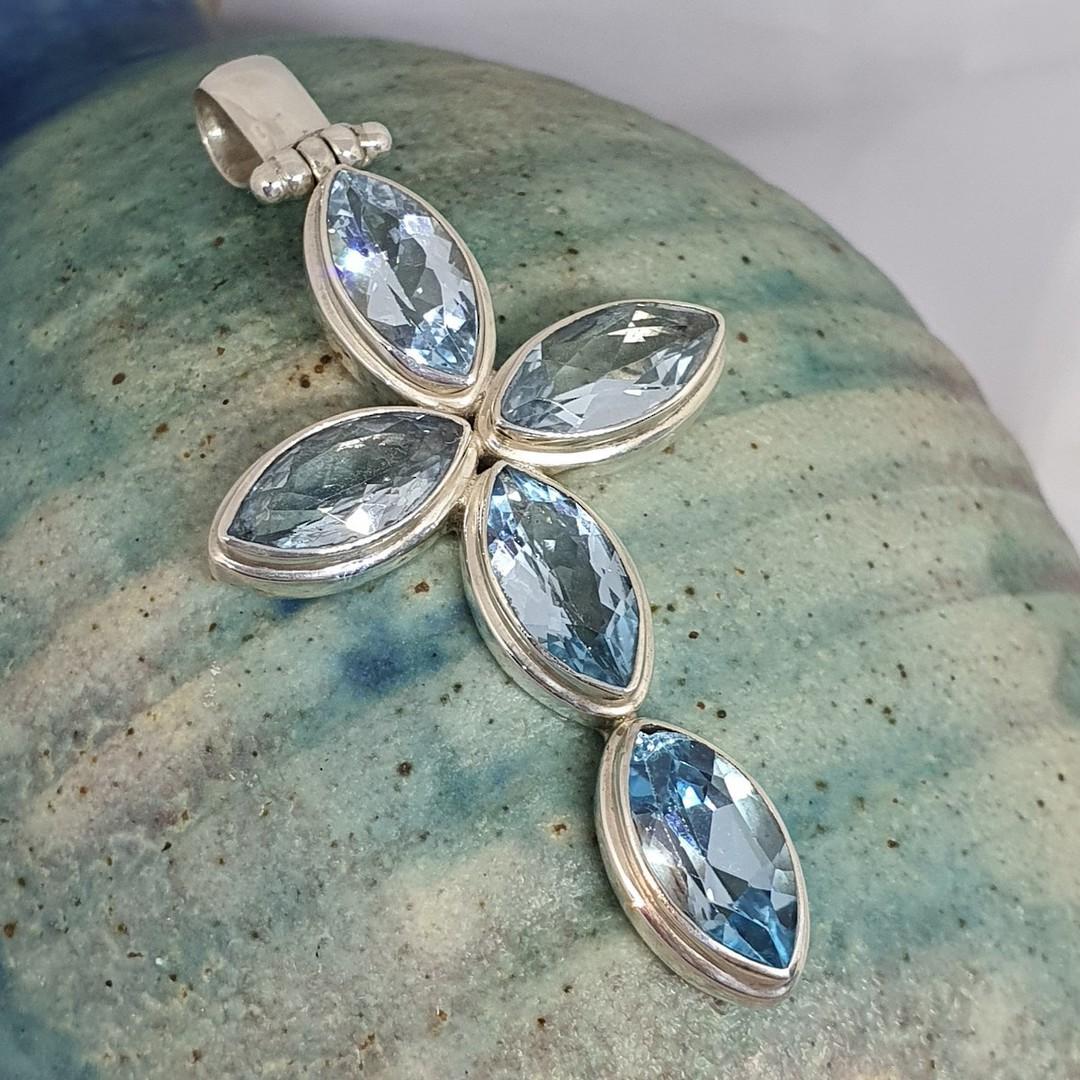 Large sterling silver blue topaz cross pendant image 0