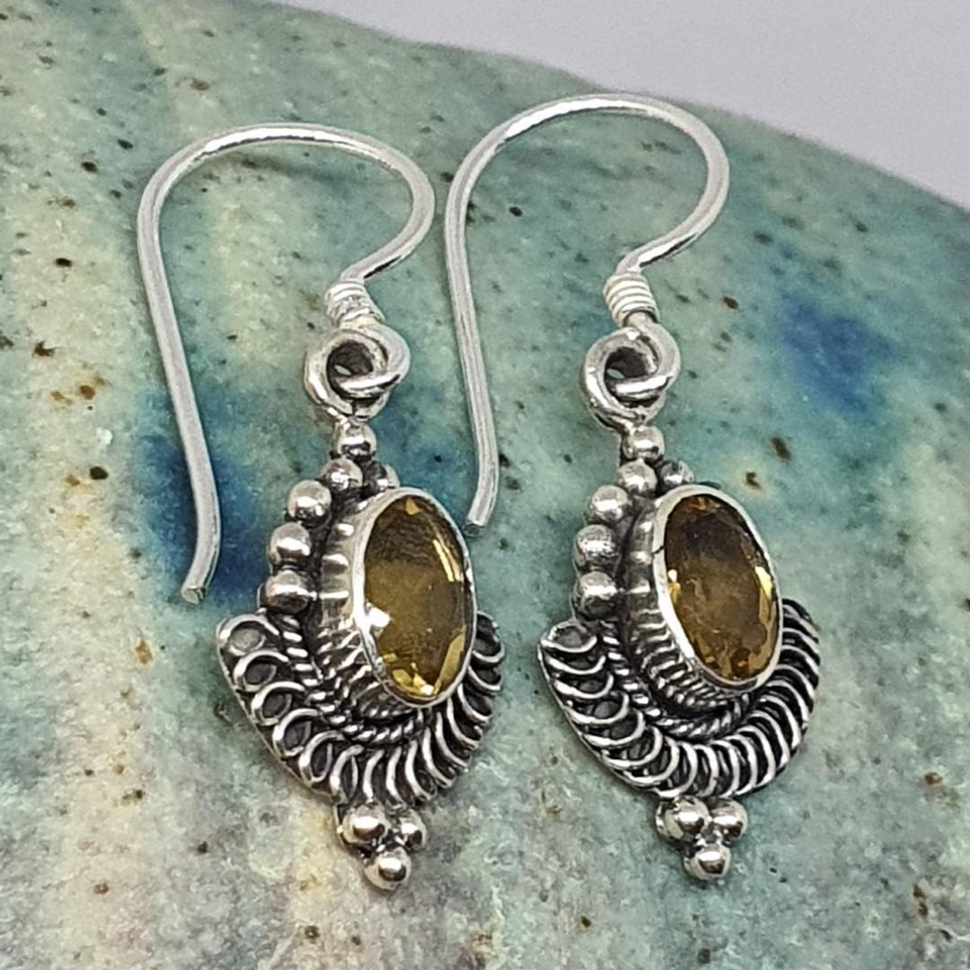 Silver citrine hook earrings image 1