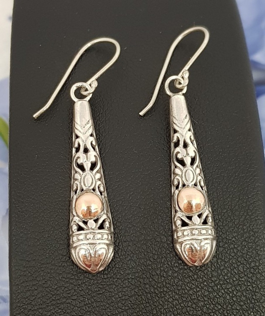 Silver filigree earrings with gold detail image 0