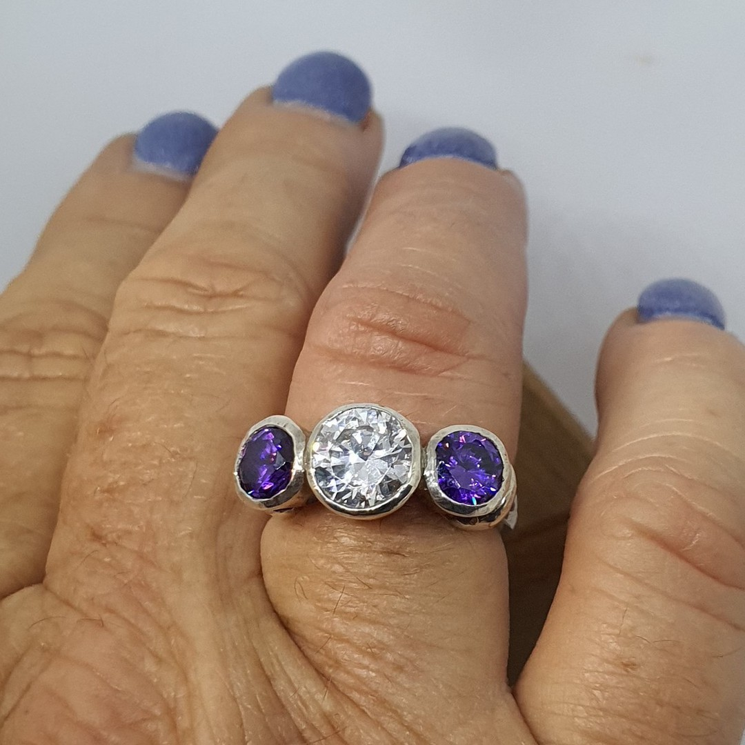 925 silver ring with clear and purple CZ's image 3