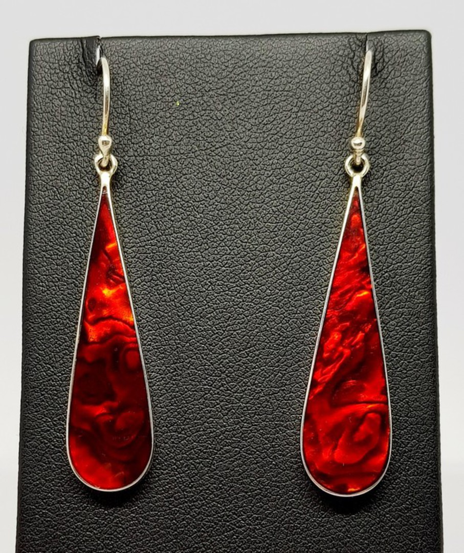 Elongated oval red earrings, sterling silver gorgeous shine image 3