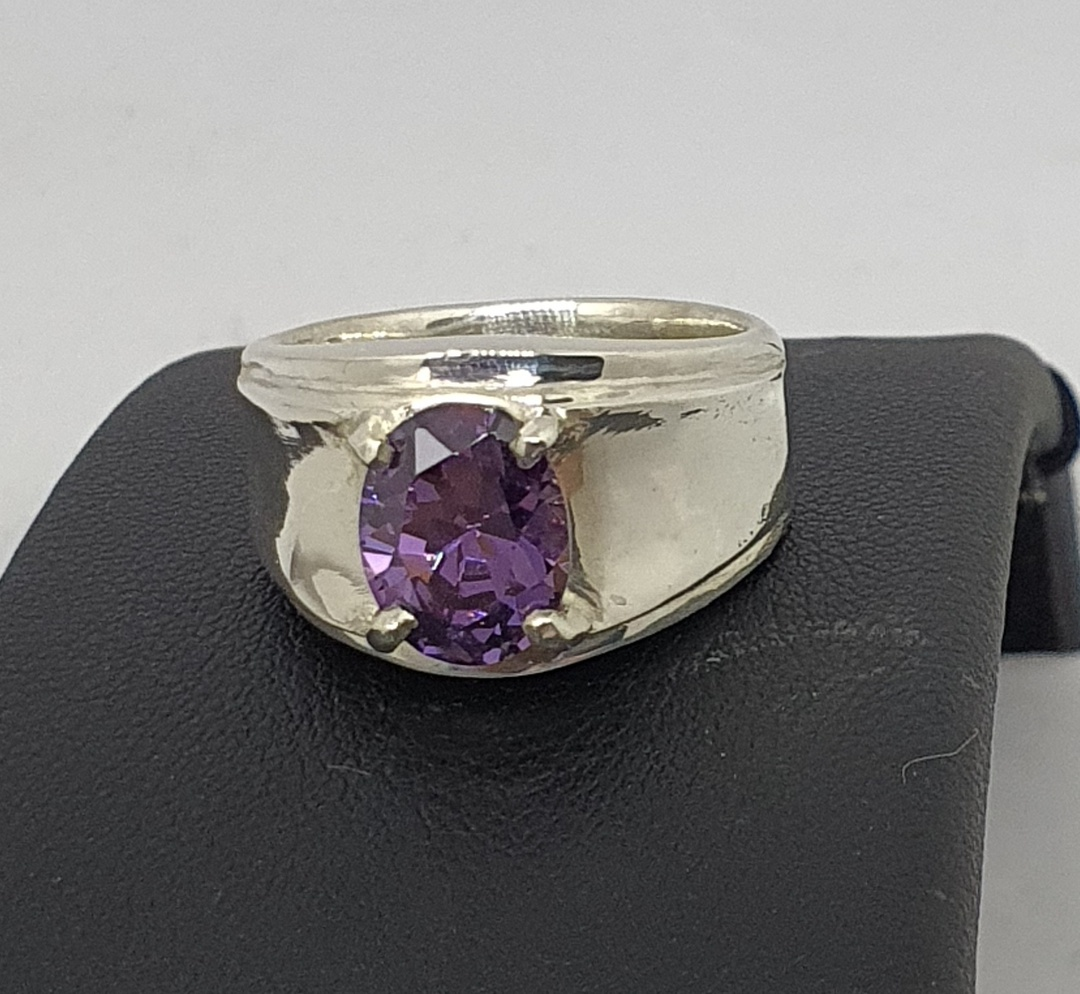 Wide silver band ring with purple gemstone image 1