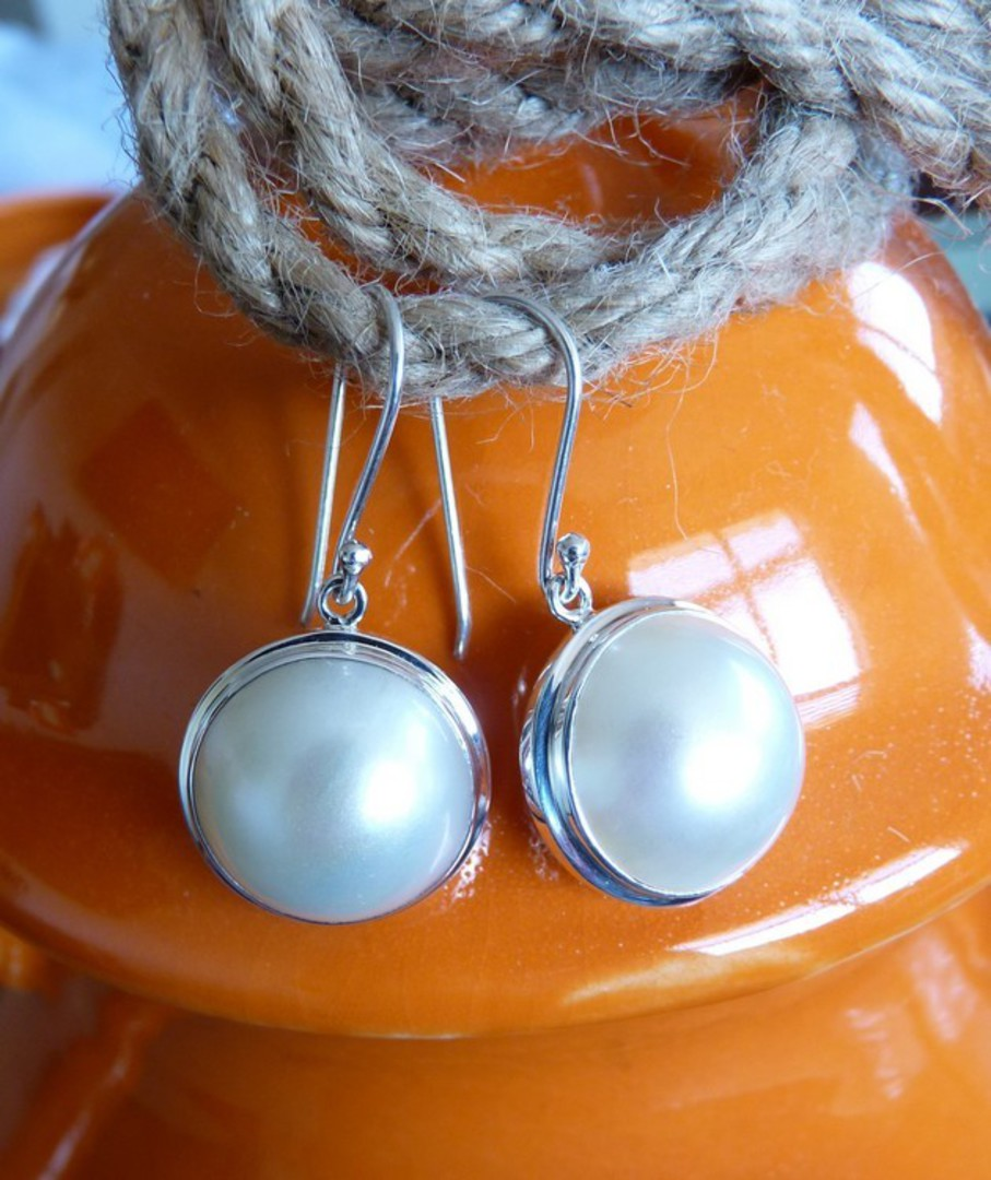 Large white mabe pearl earrings image 3