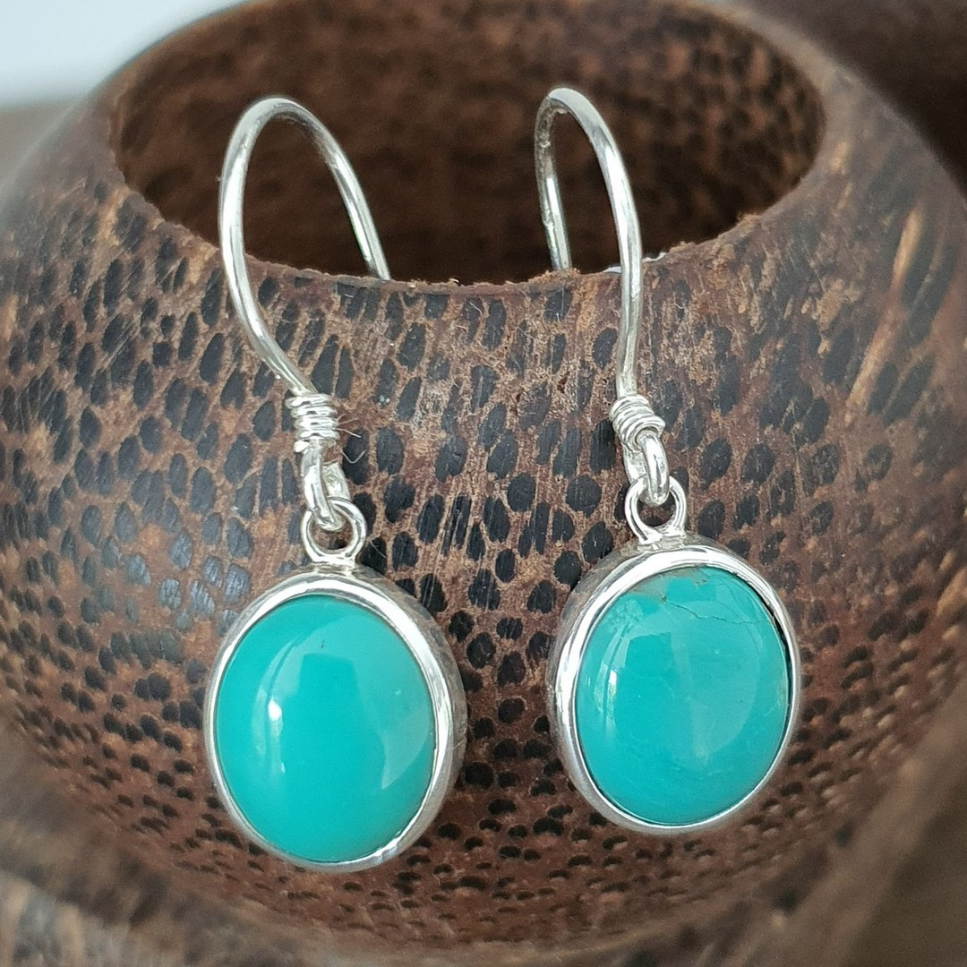 Sterling silver oval turquoise hook earrings image 1