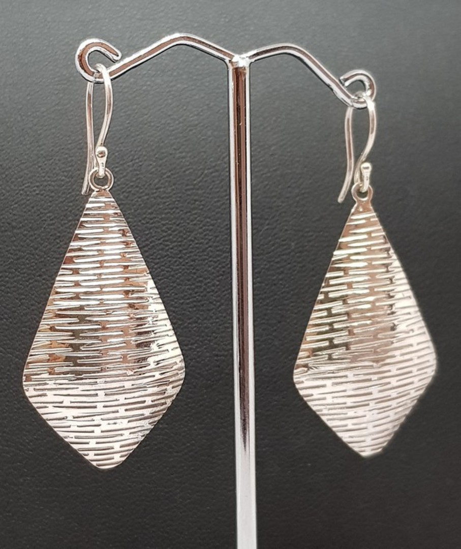 Sterling silver large, decorated kite shape hook earrings image 2