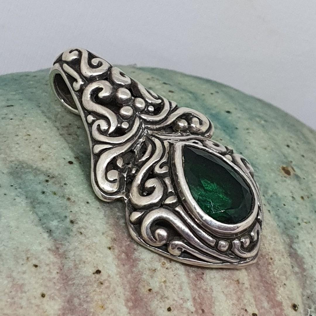 Green quartz pendant set in heavy decorated silver image 2