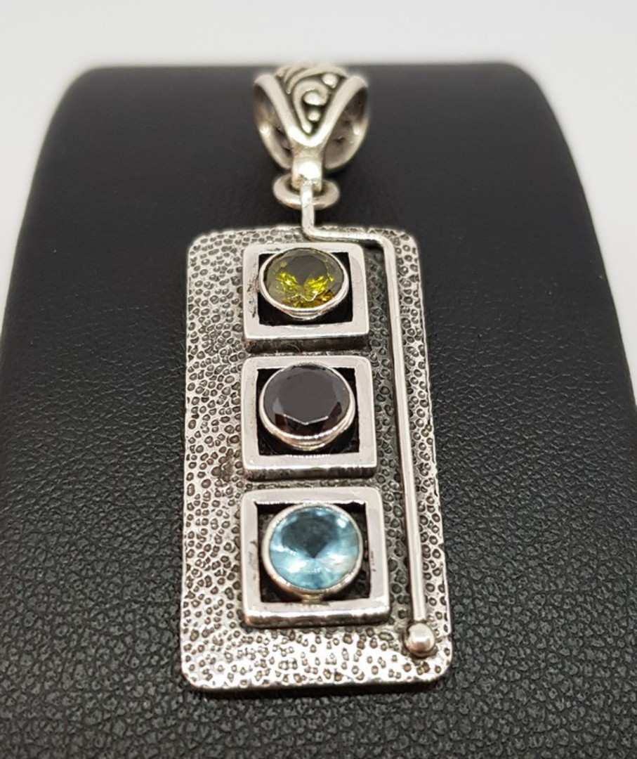 Sterling silver pendant with gemstones image 1