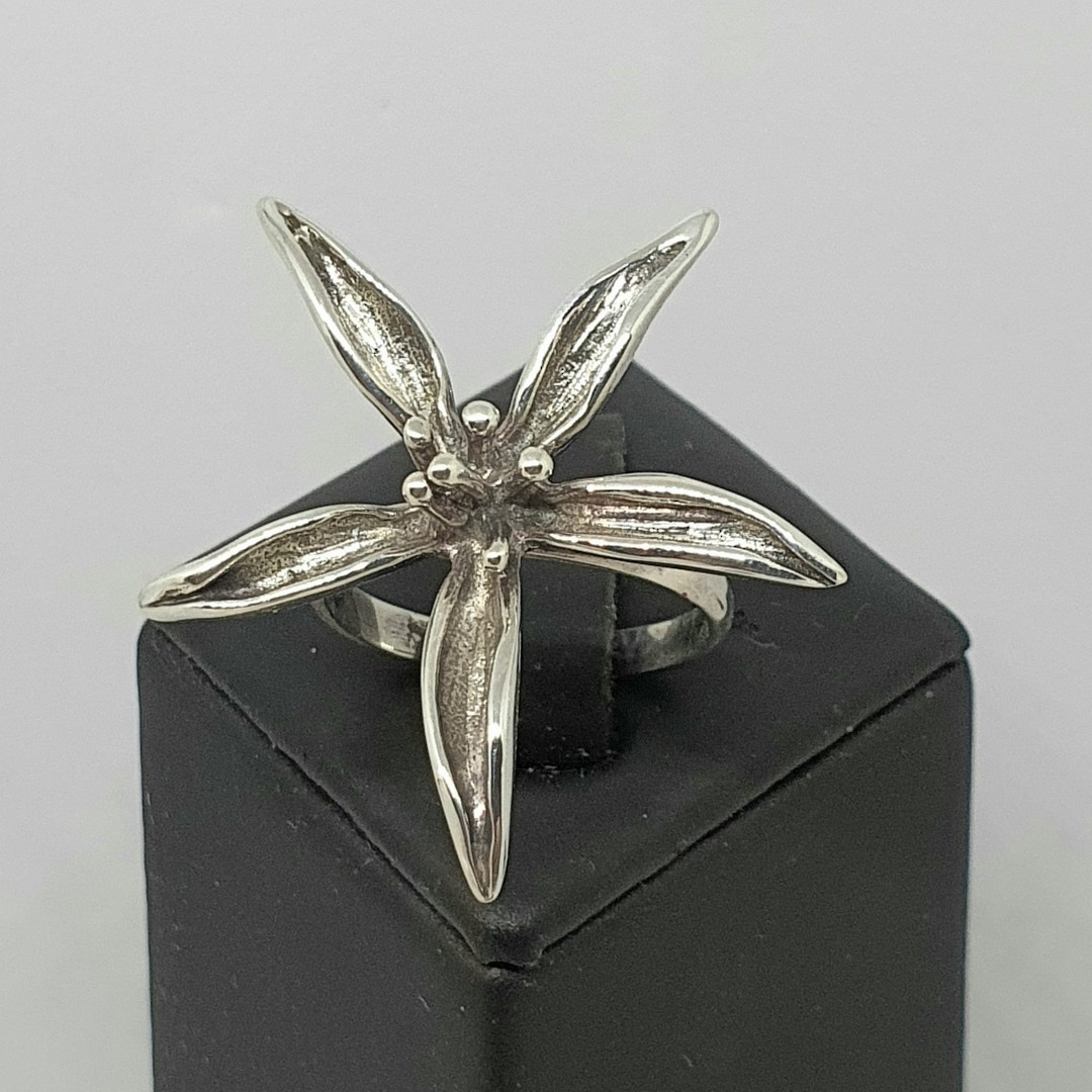 Sterling silver spiky flower dress ring image 2