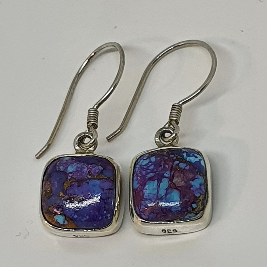 Sterling silver purple mohave turquoise earrings image 1