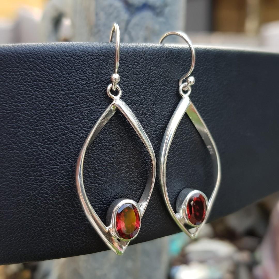 Sterling silver open teardrop earrings with garnet image 2