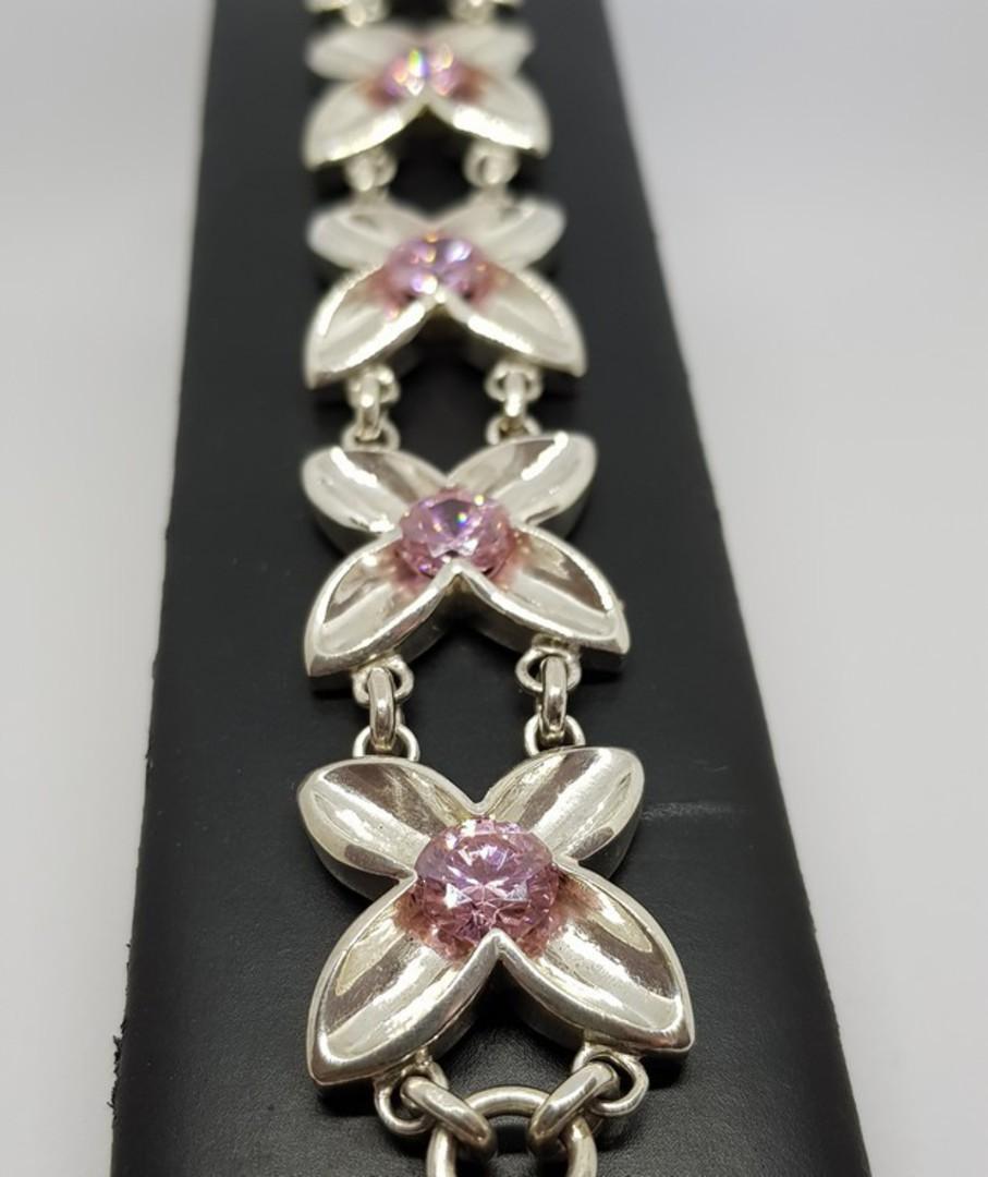 Sterling silver pink gemstone bracelet image 0