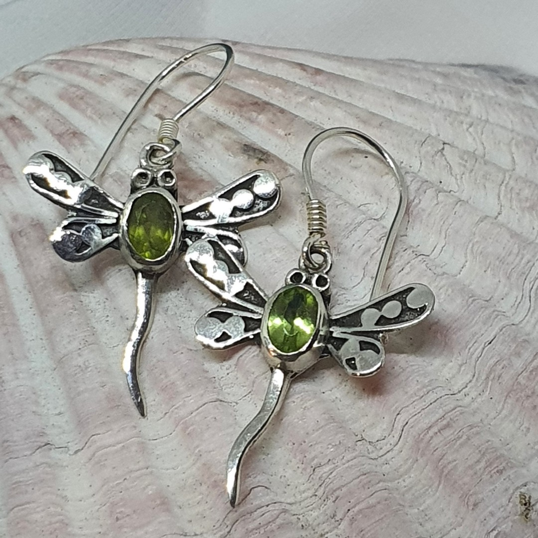 Silver peridot dragonfly earrings image 0