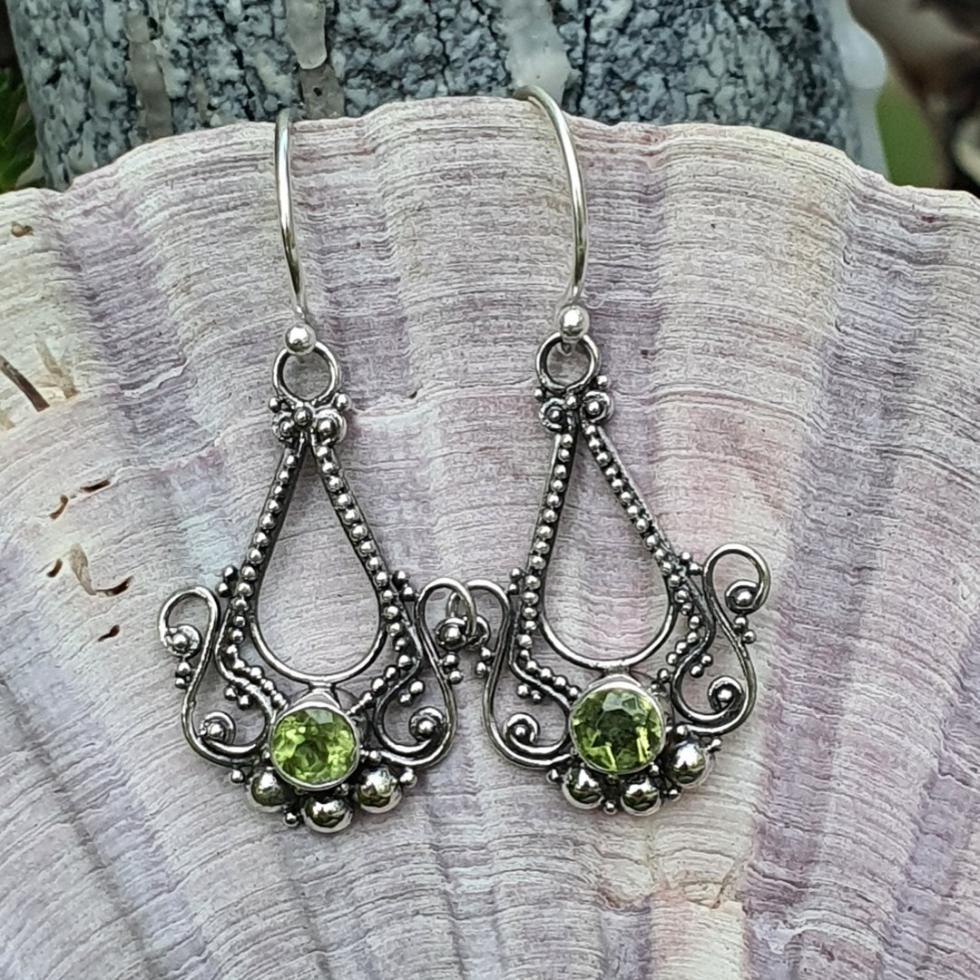 Silver filigree hook earrings with green peridot image 1