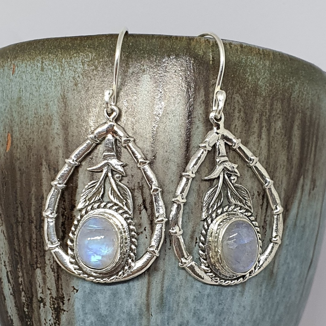 Moonstone earrings with open bamboo style frame image 2