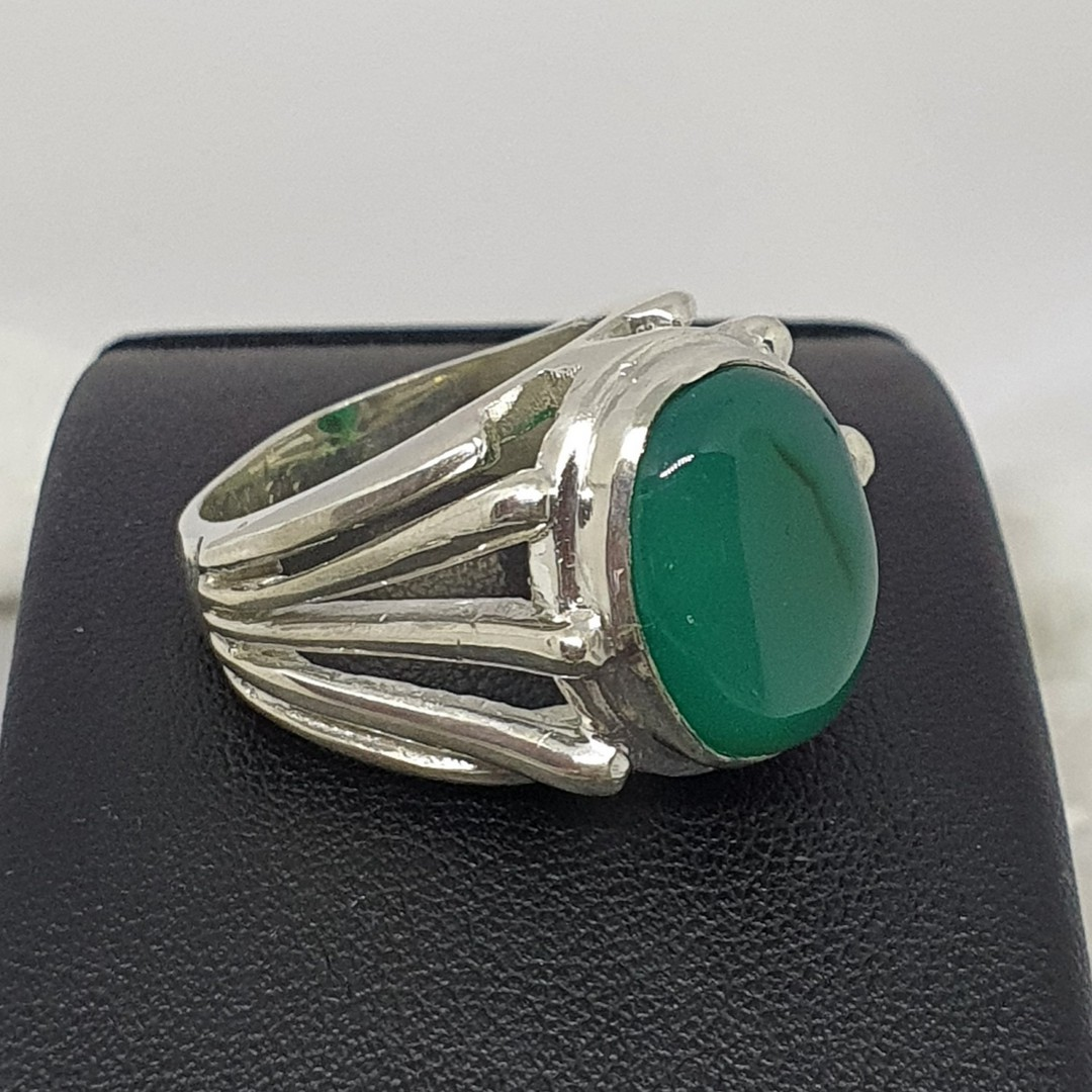 Made in New Zealand, sterling silver green fluorite gemstone ring image 1