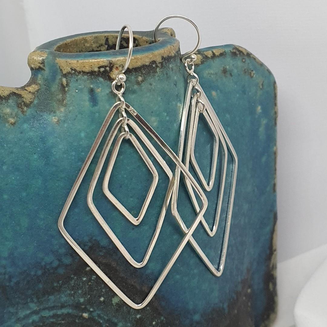 Silver large dangle earrings image 1