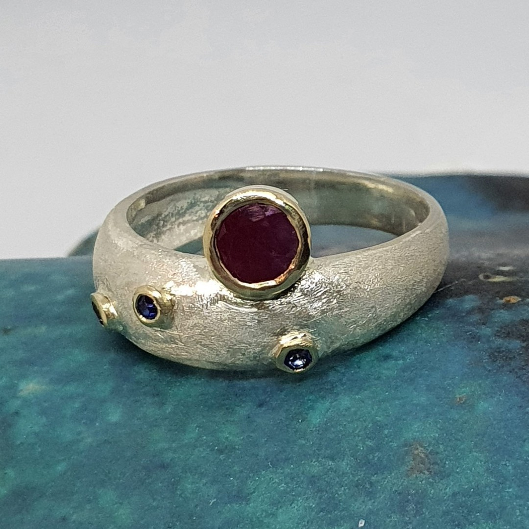 Made in NZ silver ruby and sapphire ring image 3