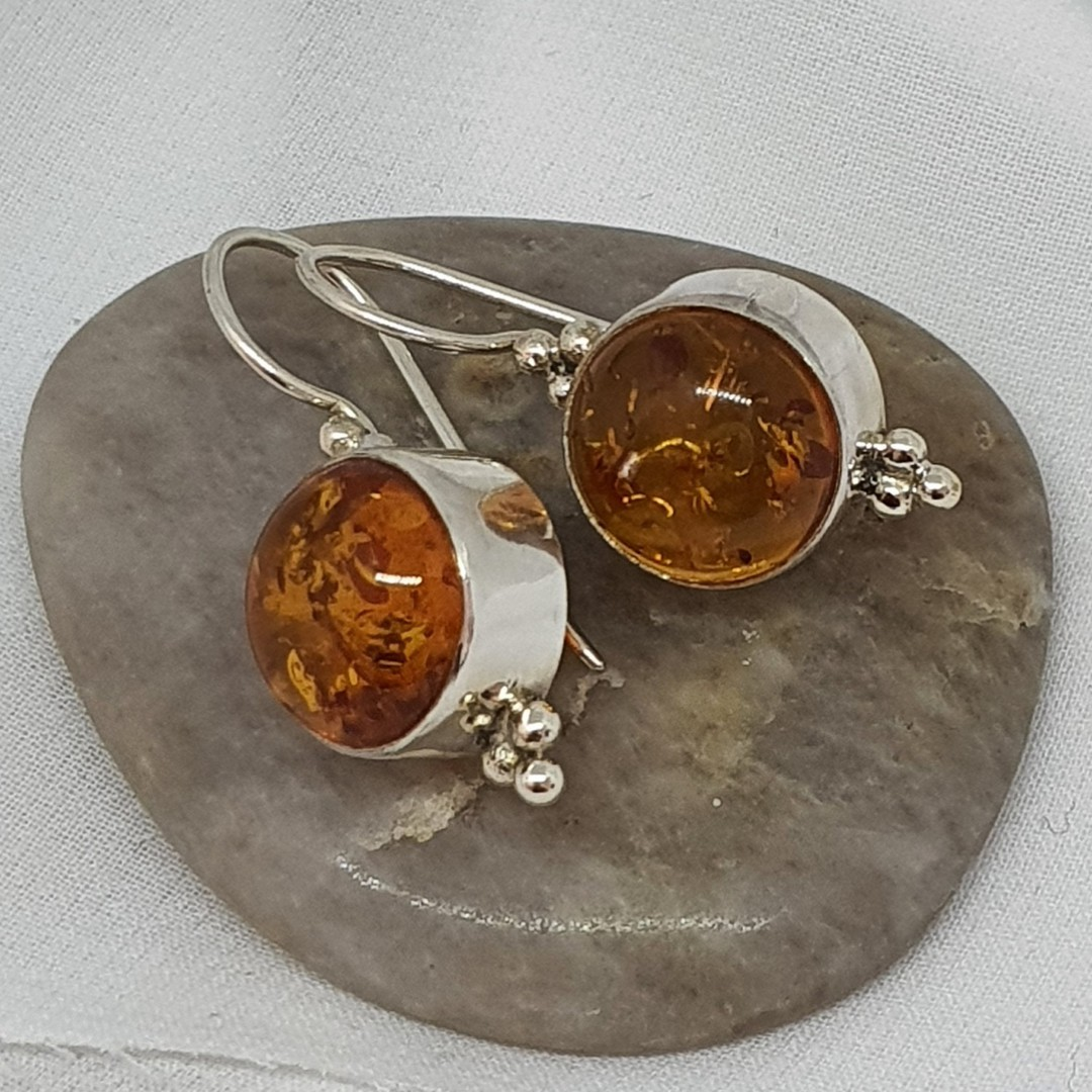 Sterling silver round amber earrings image 2