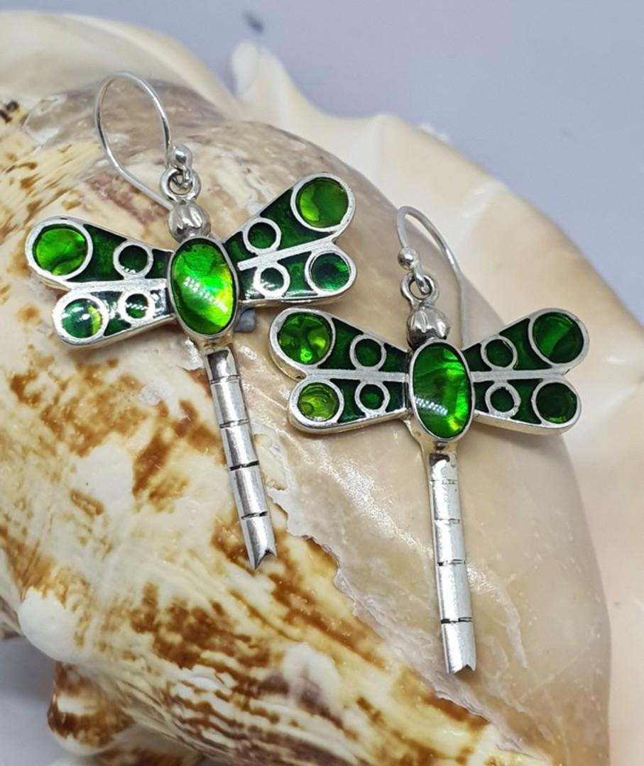 Luminous dyed green paua dragonfly earrings image 2