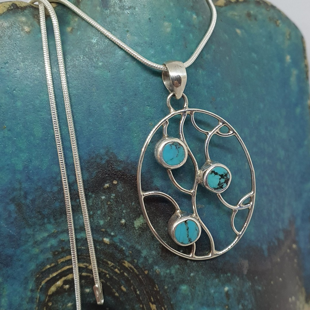 Sterling silver turquoise pendant image 0