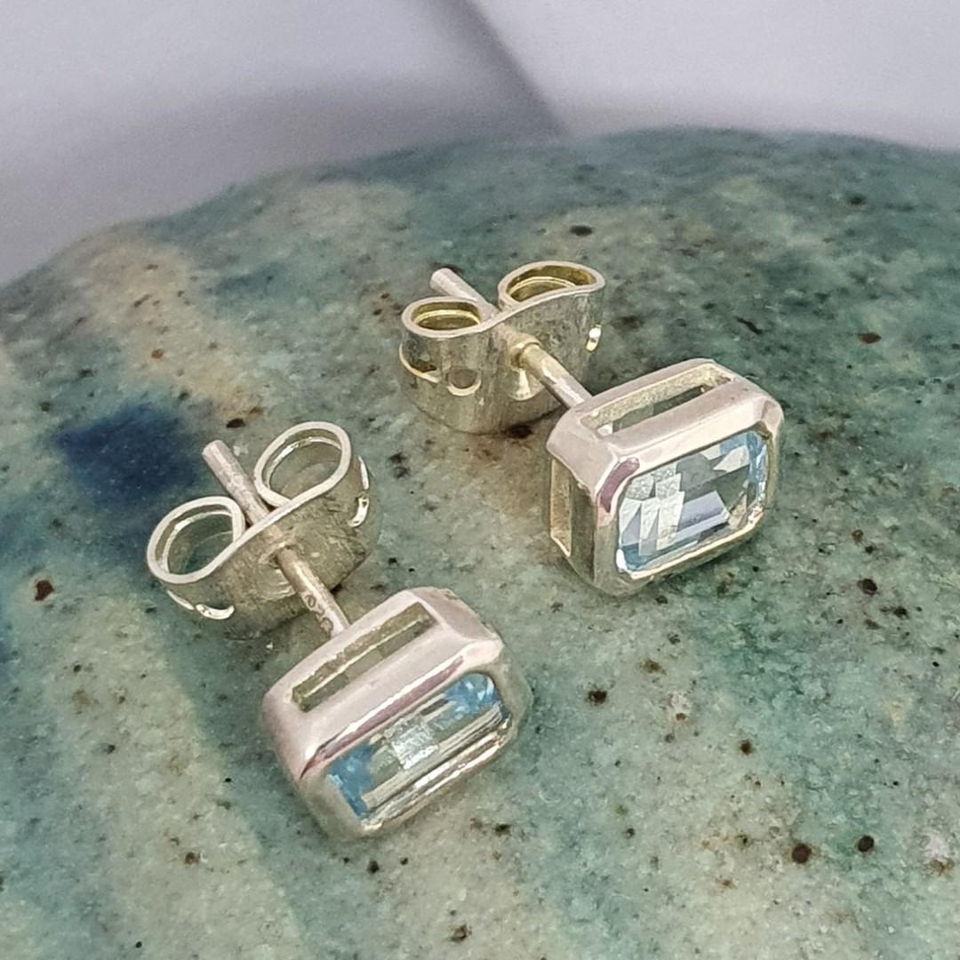 Blue topaz rectangle stud earrings image 1