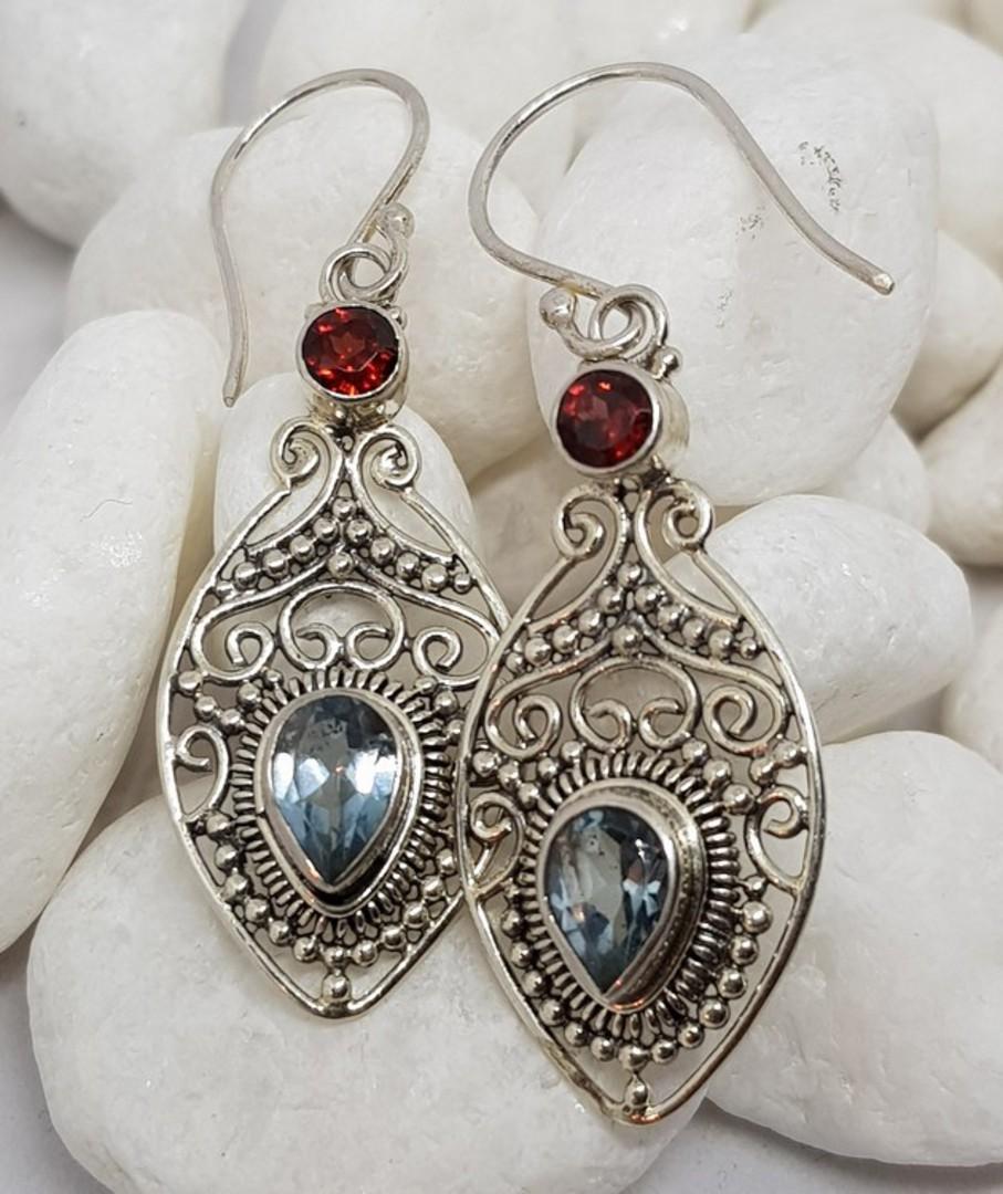 Sterling silver filigree blue topaz and garnet earrings image 0