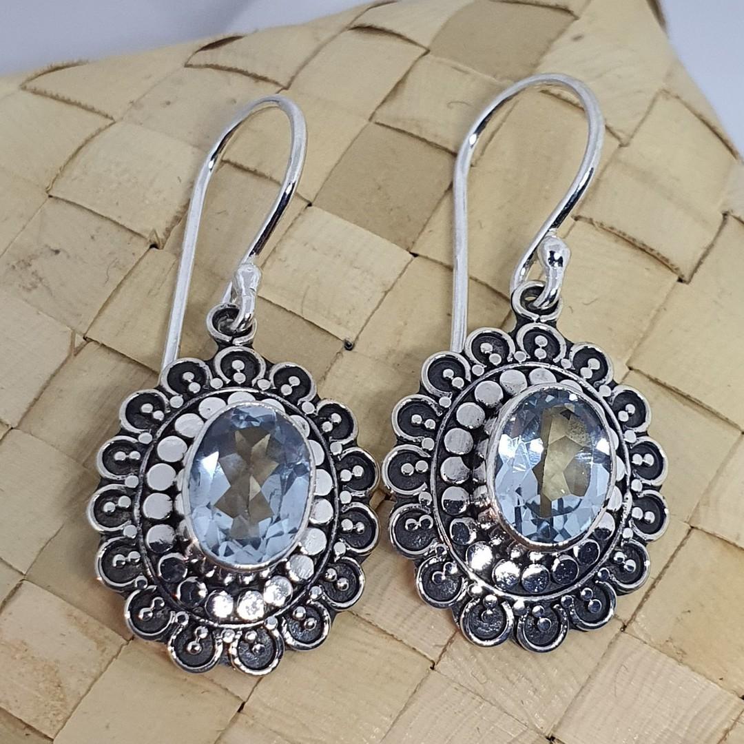 Silver blue topaz flower earrings image 1