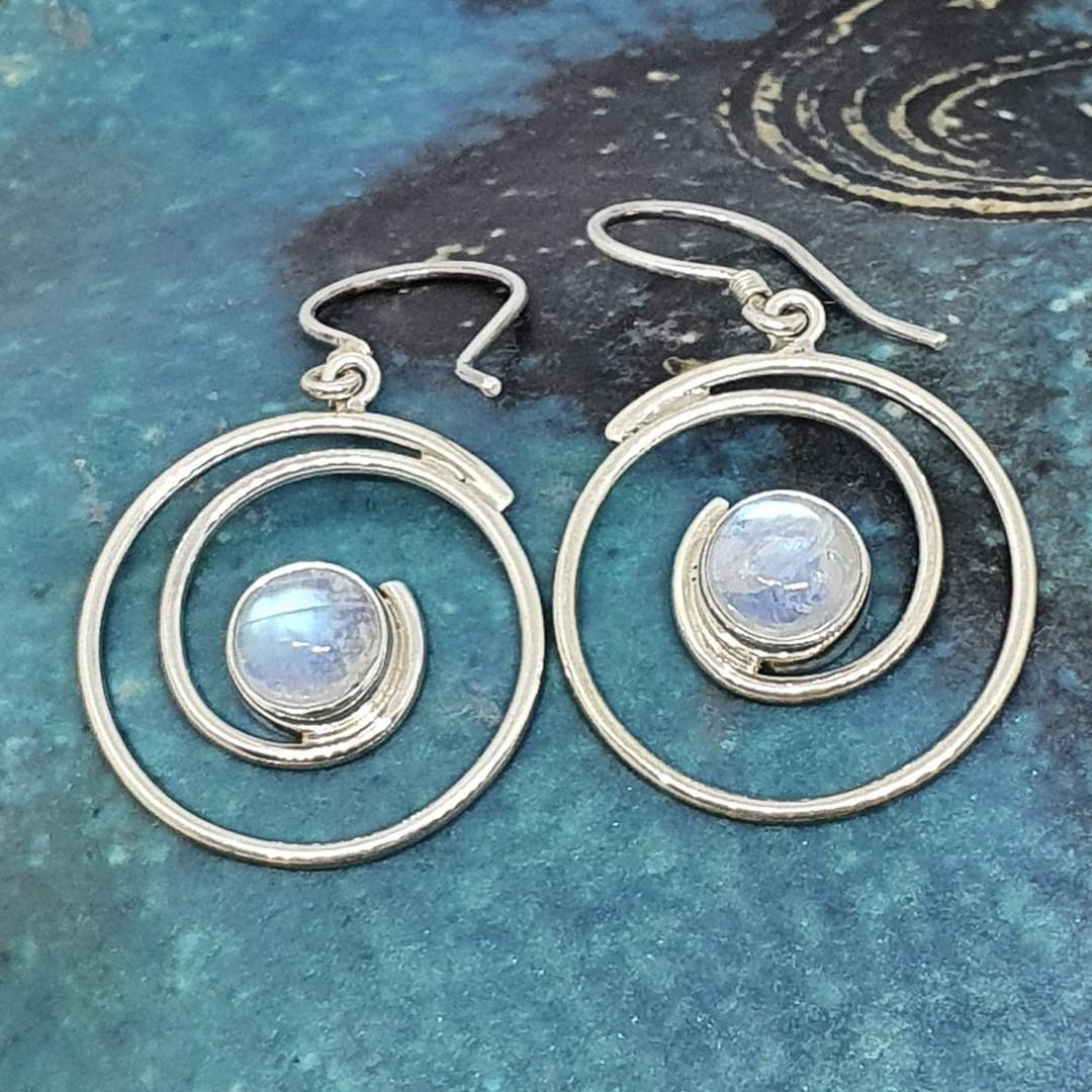 Silver spiral moonstone earrings image 1