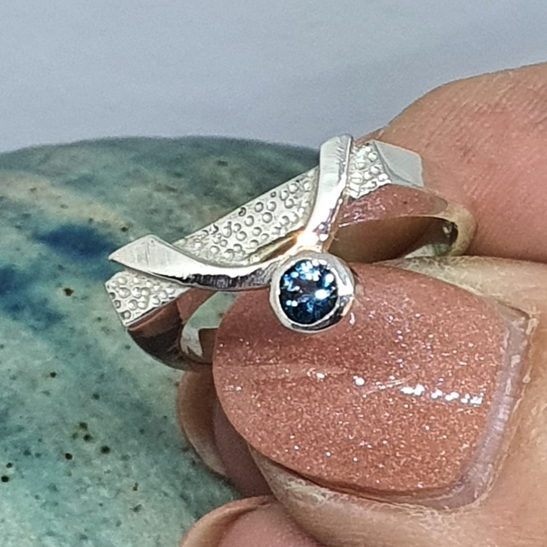 Blue topaz silver ring image 4