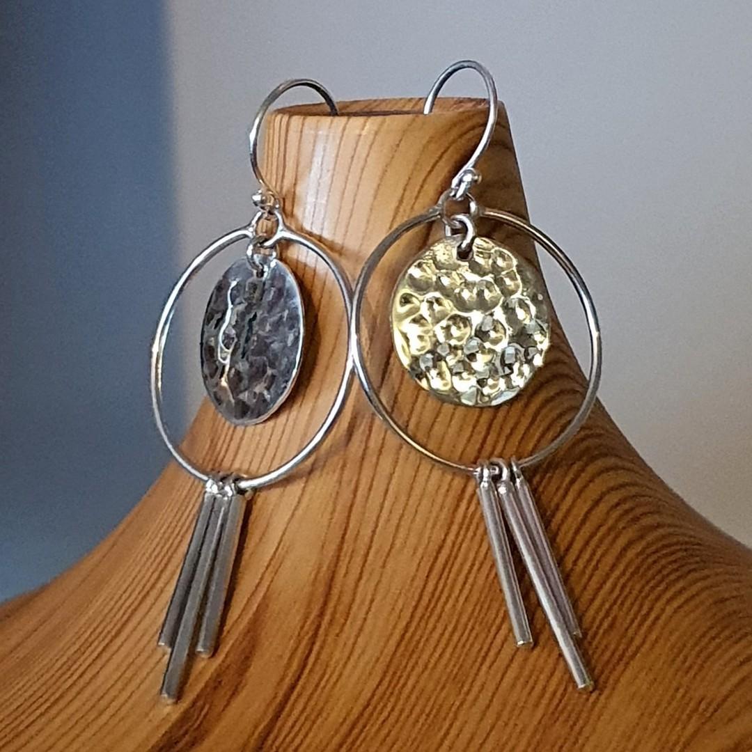 Modern funky silver earringsd image 1