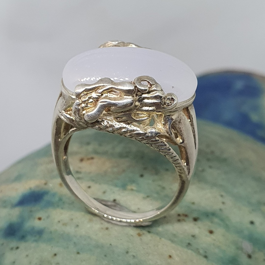 Sterling silver milky blue chalcedony ring image 4