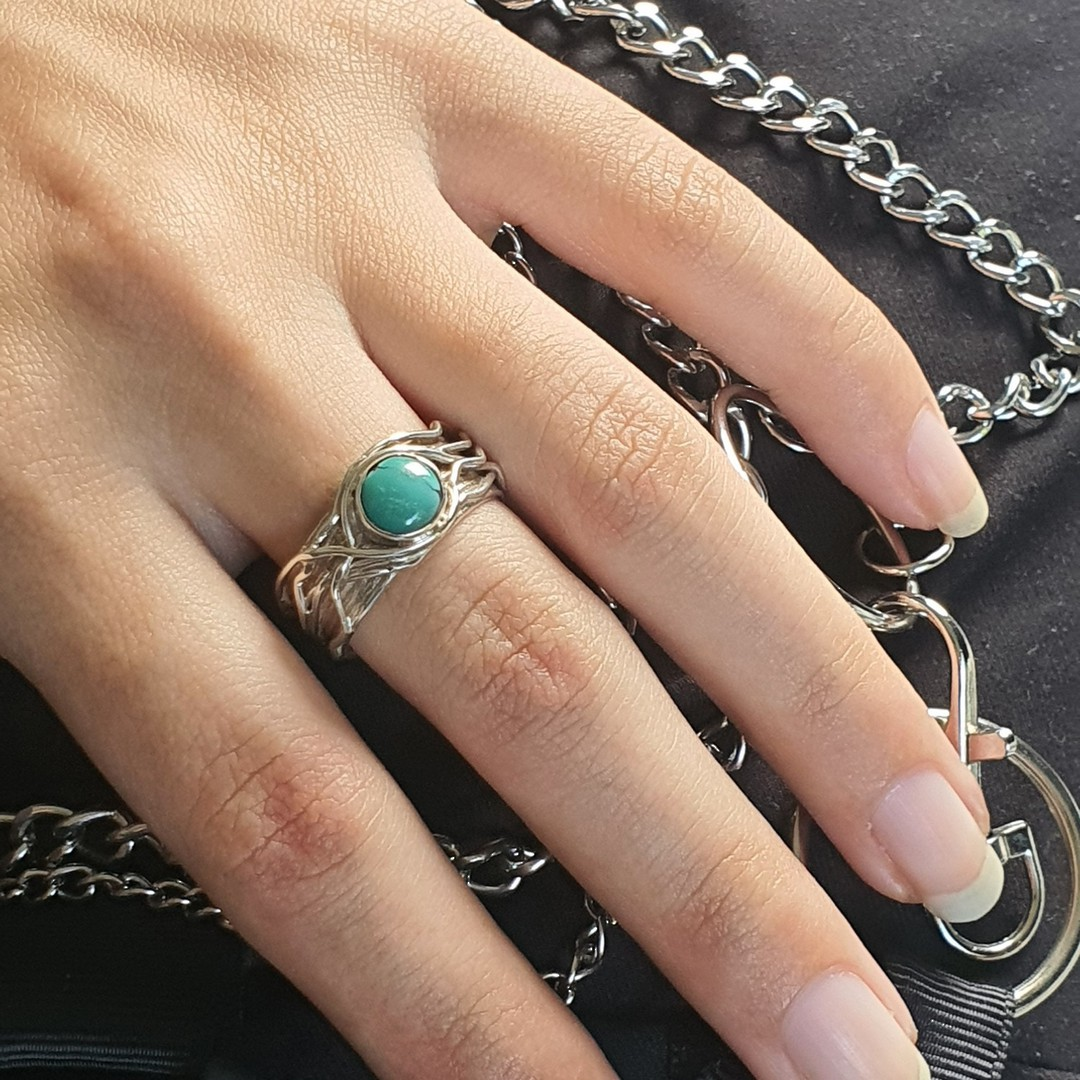 Wide band silver turquoise ring  - December Birthstone image 2