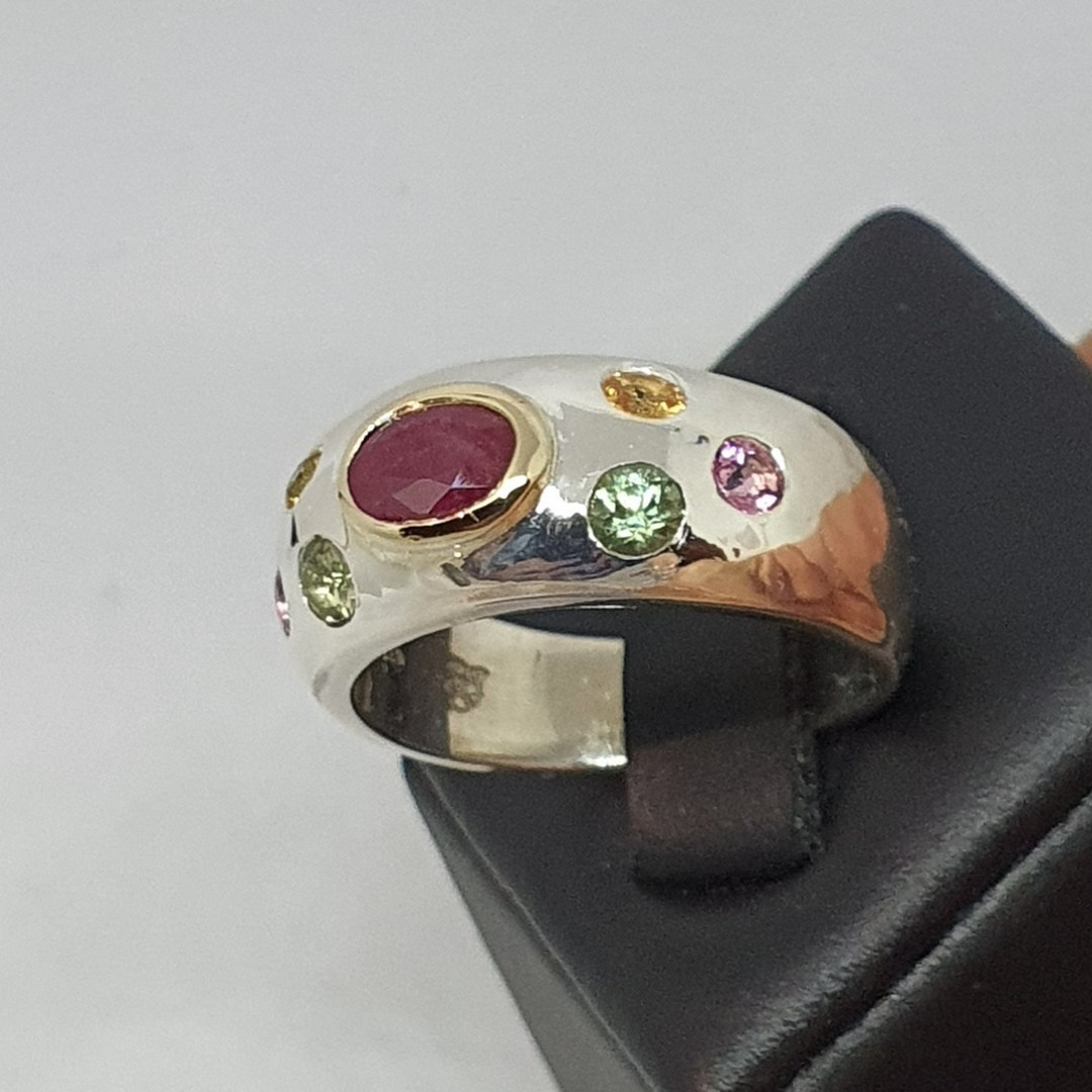 Made in NZ, silver ring with ruby and natural gemstones image 1