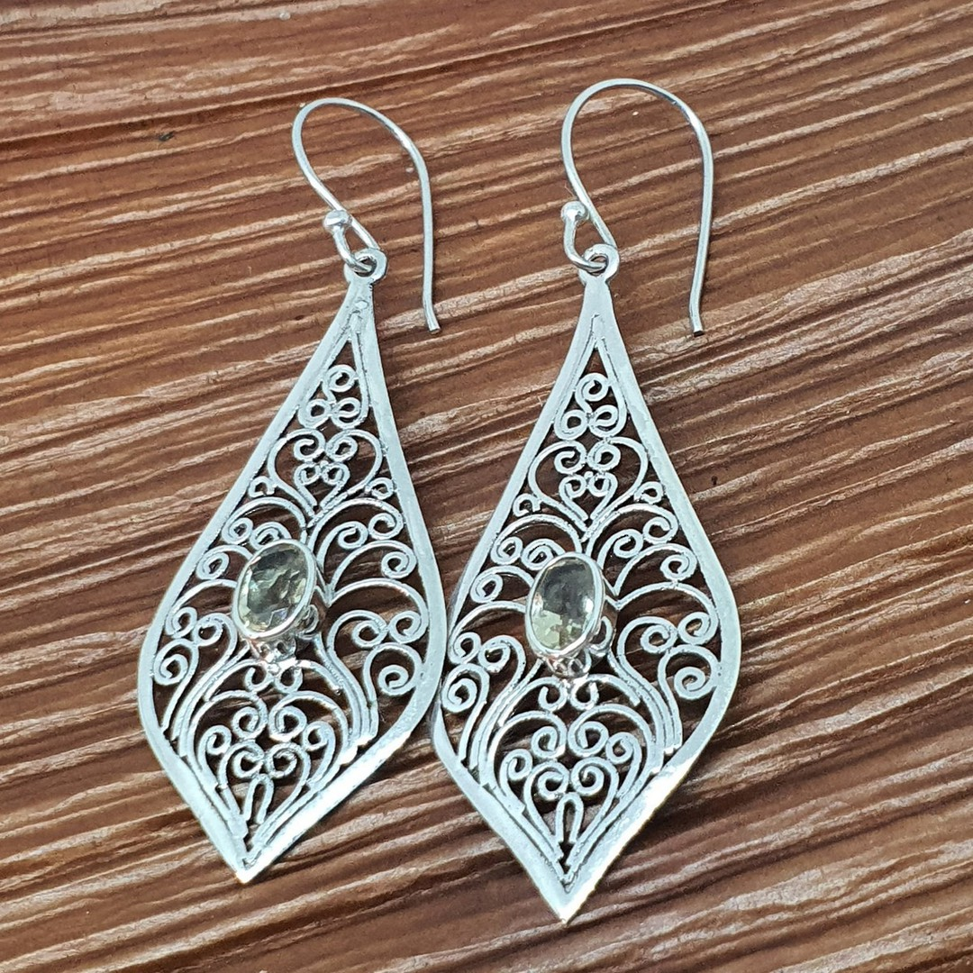 Silver filigree earrings with golden gemstone image 3