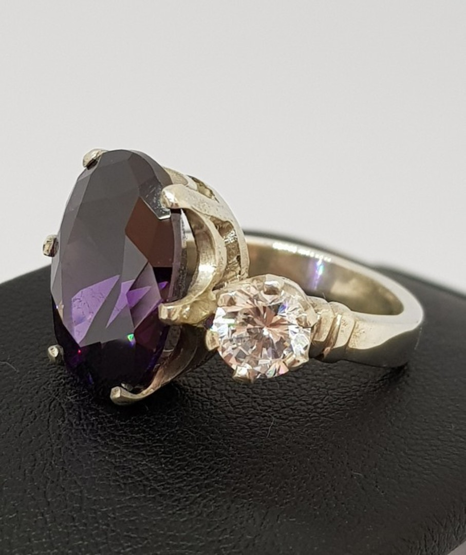 Sterling silver royal purple ring image 0
