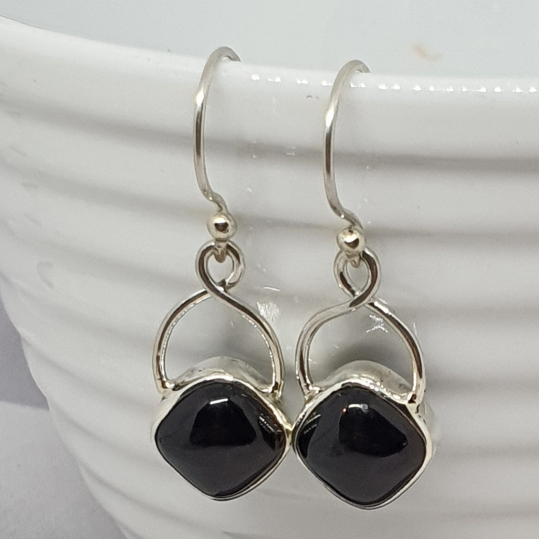 Sterling silver black onyx earrings image 0