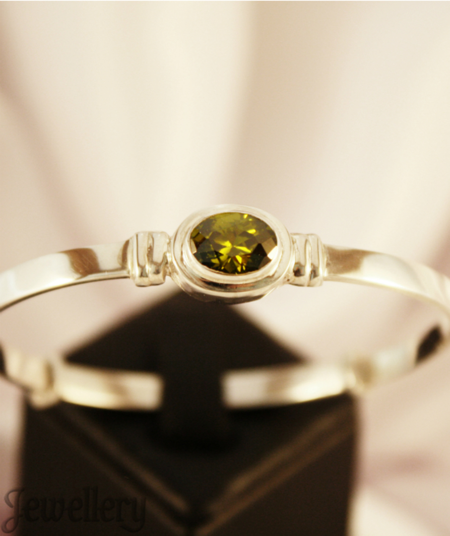 Sterling silver August birthstone baby bangle image 3