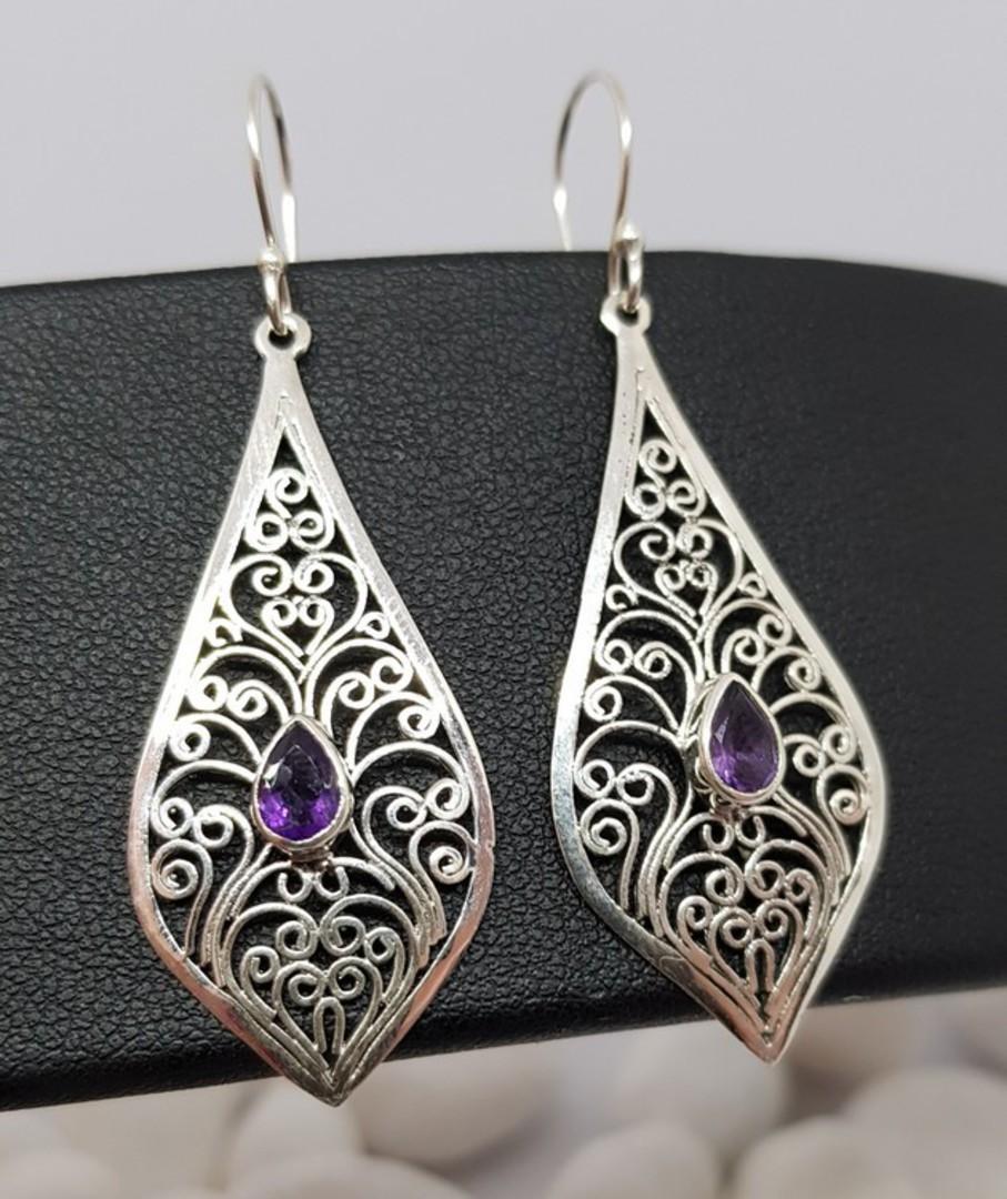 Silver filigree earrings with purple gemstone image 1
