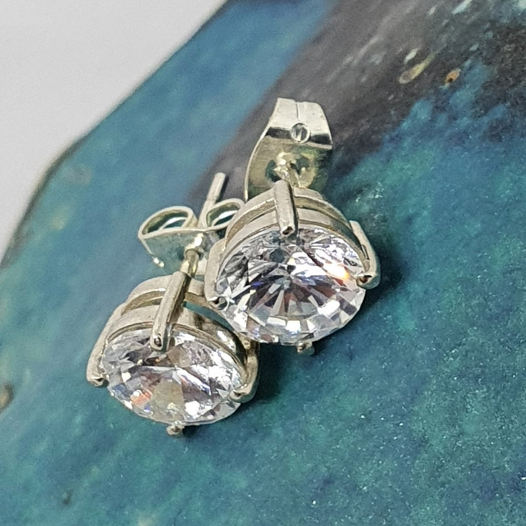 Silver cubic zirconia stud earrings image 1
