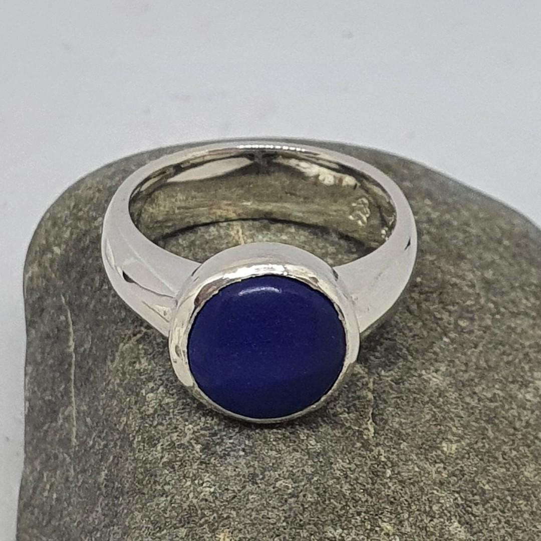 Sterling silver lapis lazuli gemstone ring, made in NZ image 3