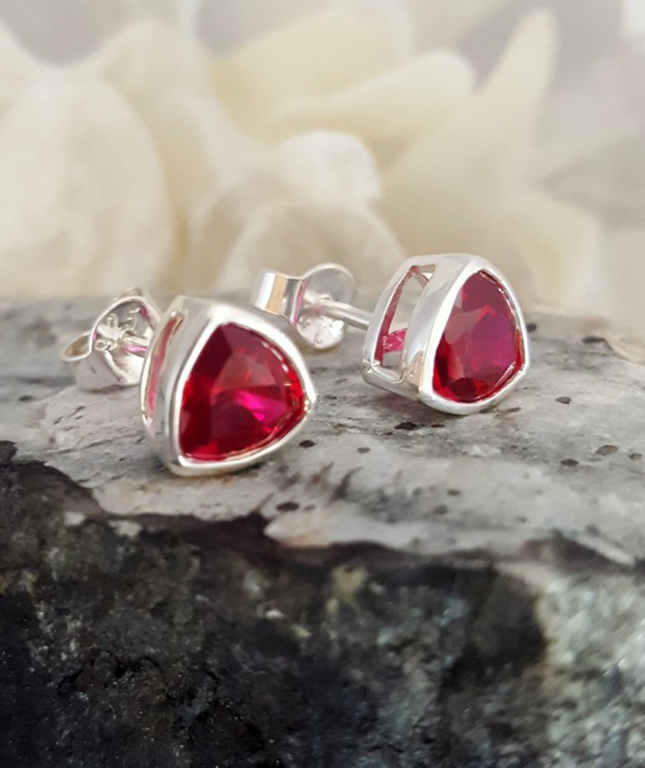 Sparkling red, synthetic ruby stud earrings image 0