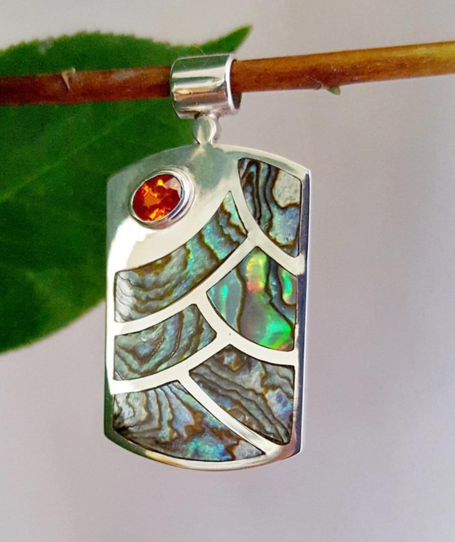 NZ paua shell pendant, sterling silver image 0
